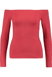 L'agence Cynthia Off The Shoulder Ponte Top Red