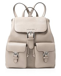 Michael Michael Kors Cooper Flap Large Pebbled Leather Backpack Cement Silver