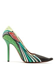 Vetements Racer Embroidered Point Toe Pumps Green Multi
