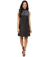 Ivanka Trump Sleeveless Faux Suede Dress Charcoal Women's Dress Gray