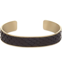 Aspinal Of London Cleopatra Python Leather Cuff Bangle M Black