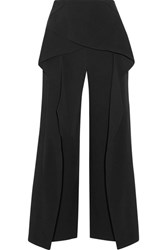 Roland Mouret Caldwell Cropped Layered Stretch Crepe Wide Leg Pants Black