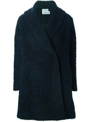 Vince Double Breasted Matted Coat Blue