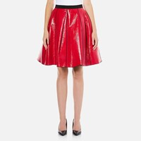 Marc Jacobs Women's Pleather Skirt With Elastic Waist Red