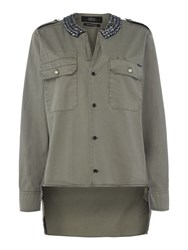Replay Studded Collar Shirt Green