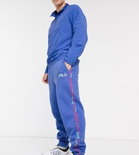 Fila Oscapon Sweat Pant With Logo Taping In Blue Exclusive At Asos