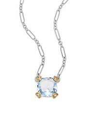 Judith Ripka Fontaine Blue Quartz Diamond Sterling Silver And 18K Yellow Gold Cushion Heart Pendant Necklace