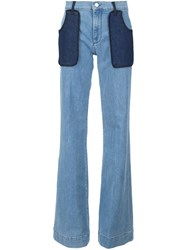 Victoria Beckham Patch Pocket Wide Leg Jeans Blue