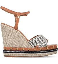 Kurt Geiger Aria Leather Wedge Sandals Tan Comb
