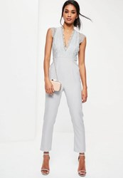 Missguided Grey Lace Sleeveless Plunge Jumpsuit
