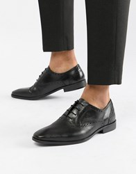 Dune Saffiano Brogue Shoes In Black Leather