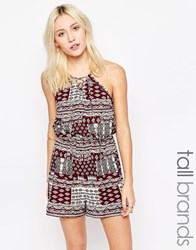 Influence Tall Playsuit With Lace Up Front Burgandy Red