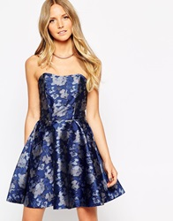 Liquorish Metallic Jacquard Prom Dress Blue