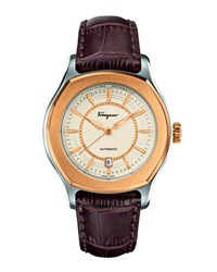 Salvatore Ferragamo Ip Bezel Steel Automatic Watch Brown