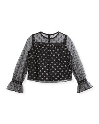 Milly Minis Leila Metallic Hearts Tulle Blouse Size 4 7 Black Silver
