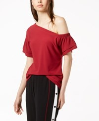 Bar Iii One Shoulder Top Created For Macy's Glazed Berry Red