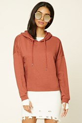 Forever 21 Boxy French Terry Knit Hoodie Rust