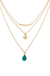 Forever 21 Seashell Charm Necklace Set Gold Green