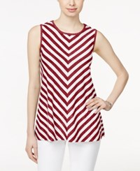 Styleandco. Style And Co. Sleeveless Chevron Print Top Only At Macy's Summer Stripe Red