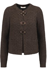 Tory Burch Ross Textured Knit Cardigan Brown