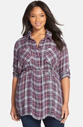 Plus Size Women's Melissa Mccarthy Seven7 Belted Plaid Tunic