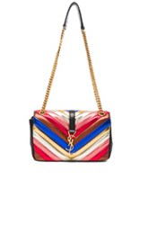 Saint Laurent Slouchy Medium Monogramme Chain Bag In Metallics Stripes Red Metallics Stripes Red