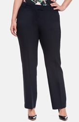 Eloquii 'Paley' Double Weave Straight Leg Pants Plus Size Navy