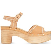 Sandro Audry Leather Block Heel Sandals Camel