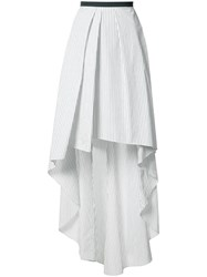 Brunello Cucinelli Striped Asymmetric Skirt White