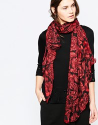 French Connection Peony Print Scarf Red