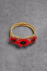Elizabeth Cole Woman 24 Karat Gold Plated Resin And Crystal Cuff Red