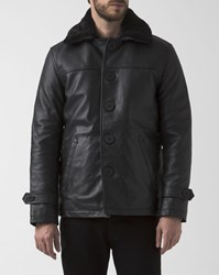 Schott Nyc Black Leather Collared Removable Lining Button Up Coat