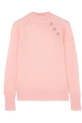 Balmain Button Embellished Ribbed Mohair Blend Sweater Pink