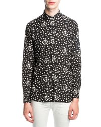 Saint Laurent Dylan Star Print Viscose Shirt Black White Black White