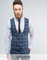 Noose And Monkey Super Skinny Waistcoat In Check Blue