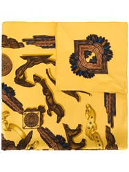 Hermes Vintage Patterned Scarf Yellow Orange