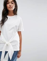 Pull And Bear Pullandbear Tie Front Top White