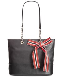 Giani Bernini Pebble Leather Chain Tote Only At Macy's Black