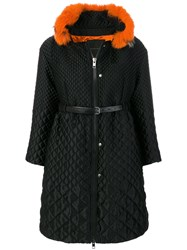 Ermanno Scervino Faux Fur Collar Coat Silk Polyamide Polyester Wool Black