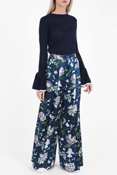 Adam By Adam Lippes Women S Floral Silk Trousers Boutique1 Blue
