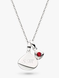 Kit Heath Personalised Sterling Silver Pebble And Tag Birthstone Pendant Necklace Ruby July