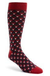 Ted Baker Men's London Geo Pattern Socks Dark Red