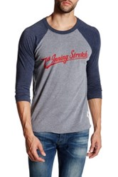 7Th Inning Stretch Logo Graphic Three Quarter Baseball Tee Blue