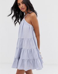 Lost Ink Cami Swing Dress With Tiered Volume Skirt Blue