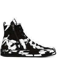 Ann Demeulemeester Printed Hi Top Sneakers Men Chamois Leather Leather Rubber 43 Black
