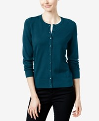 Charter Club Crew Neck Cardigan Only At Macy's Cerulean Night