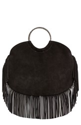 Saint Laurent Fringed Suede Handbag With Snake Embossed Bracelet Handle