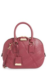 Burberry 'Small Orchard' Check Embossed Leather Satchel