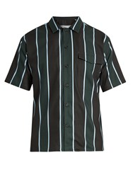 Ami Alexandre Mattiussi Short Sleeved Striped Cotton Blend Shirt Black Multi
