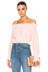 Norma Kamali Cropped Peasant Top In Pink